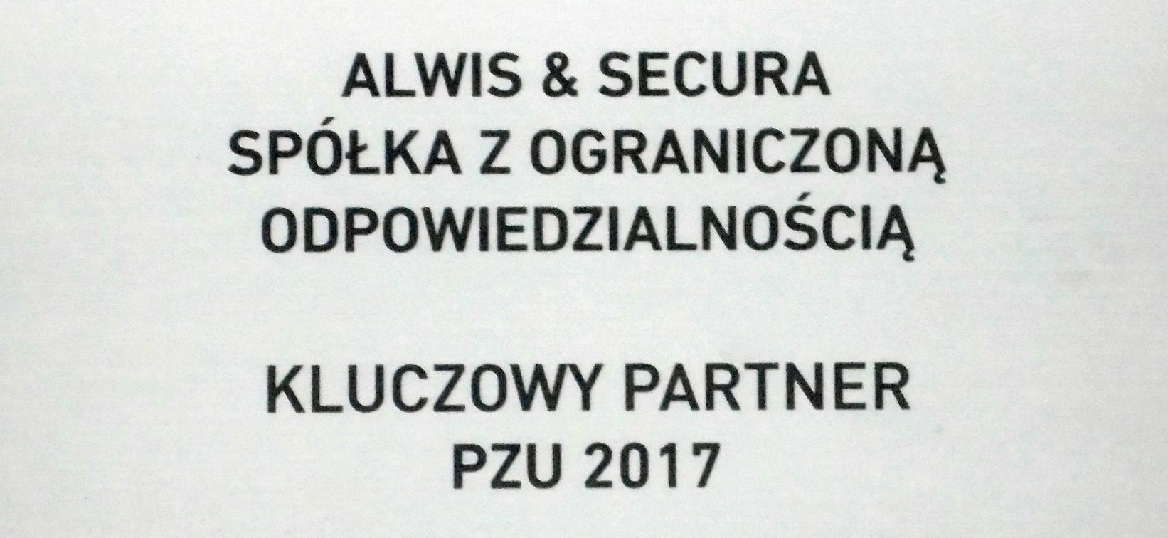 Alwis&Secura Kluczowym Partnerem PZU 2017
