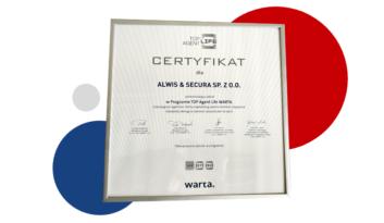 Certyfikat potwierdzający udział w Programie TOP Agent Life WARTA!