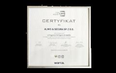 Certyfikat Program  TOP Agent Life  WARTA 2018
